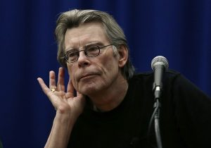 Novelist Stephen King listens to a question from a creative writing student at the University of Massachusetts-Lowell in Lowell, Mass., Friday, Dec. 7, 2012. (AP Photo/Elise Amendola)